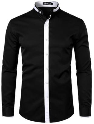 ZEROYAA Mandarin Collar Shirts