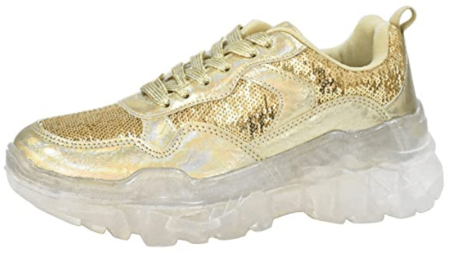 LUCKY STEP Gold Sneakers for Men and Women